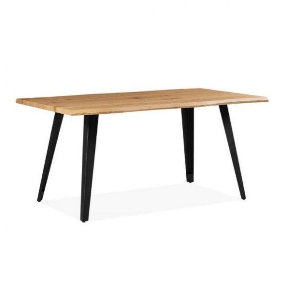 AROMA tölgy étkezőasztal 90x160cm fekete lábakkal