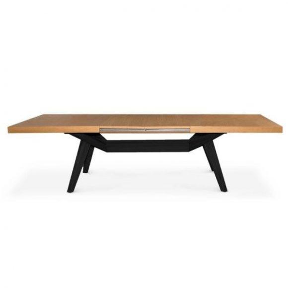 BORNEO bővíthető tölgy étkezőasztal 160-260cm fekete lábakkal