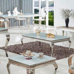 Grant Dohányzóasztal 130 cm / Fehér / Ezüst
