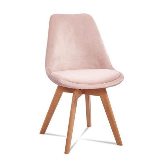 DIORO bársony étkezőszék pasztell rózsaszín / bükk láb