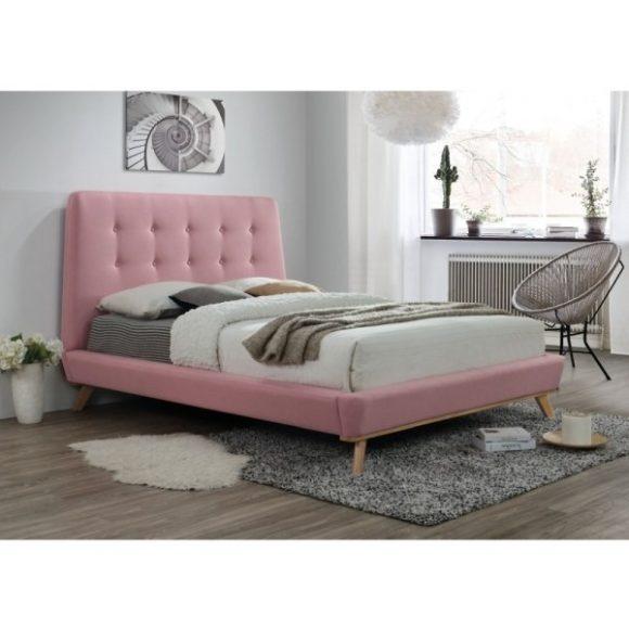 Delfina Ágykeret 160 cm Szövet / Rózsaszín