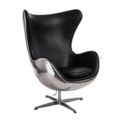 Ebby Fotel Textilbőr Alumínium / Fekete