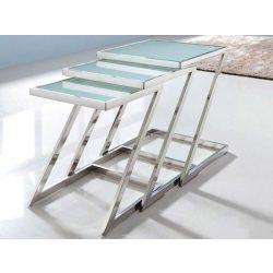 Floyd Lerakóasztal - Virágtartó 45 x 56 cm / Fehér / Ezüst