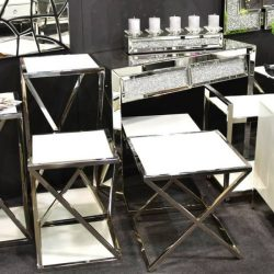 Glenn Lerakóasztal - Virágtartó 40 x 85 cm / Fehér / Ezüst