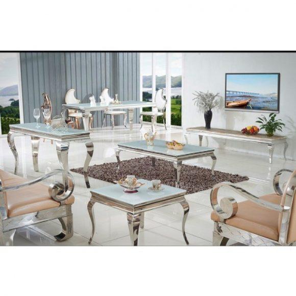Grant Étkezőasztal 200 cm Fehér / Ezüst