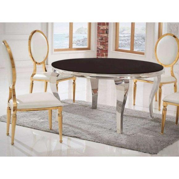 Grant Étkezőasztal 120 cm Ezüst / Fekete