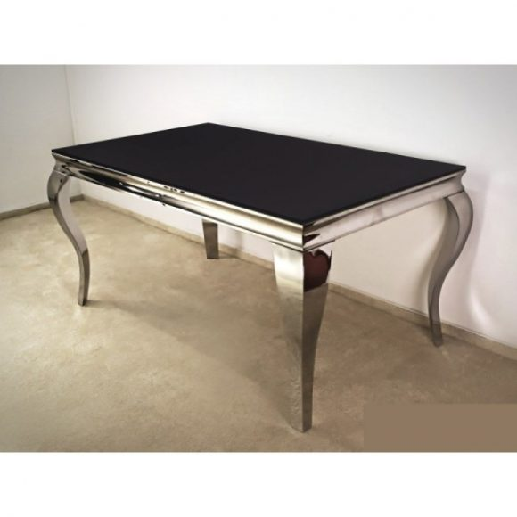 Grant Étkezőasztal 200 cm Fekete / Ezüst