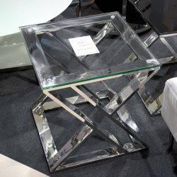 Campbell Lerakóasztal 50 cm Áttetsző / Ezüst