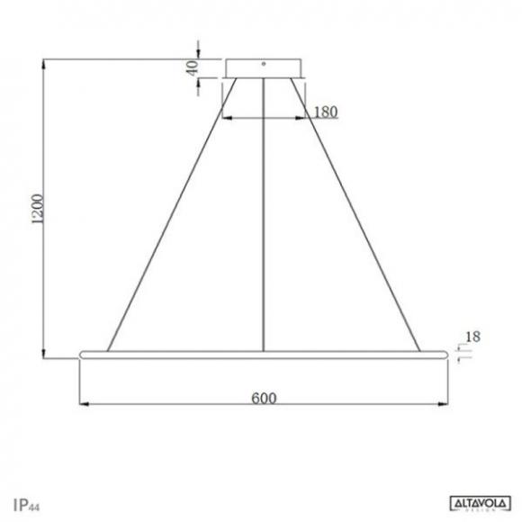 Ring LA 73 P mennyezeti lámpa réz 60 cm