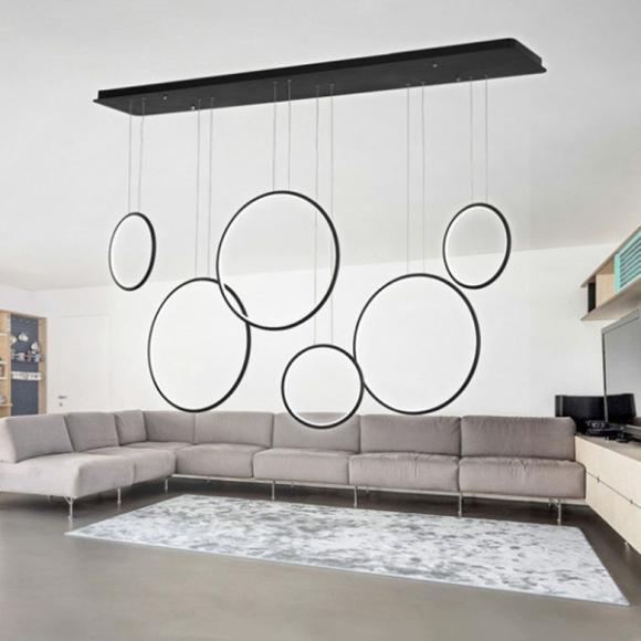 Rings No 8 mennyezeti lámpa fekete 180cm