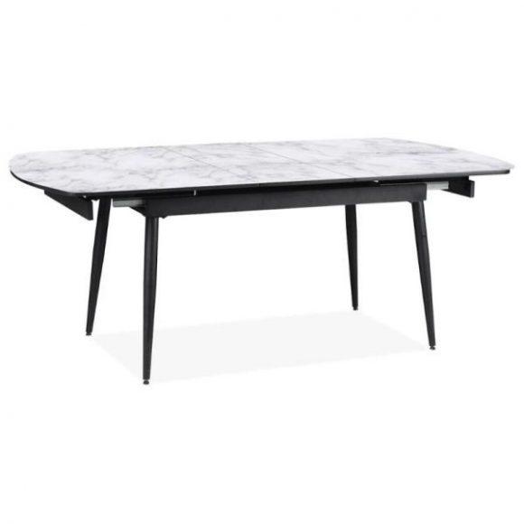 LINDOS márványmintás bővíthető étkezőasztal 160-200cm fekete