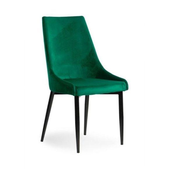 LUIS VELVET étkezőszék zöld / fekete lábakkal