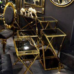 Suzan Asztal Tálcával 55 x 57 cm / Fekete / Arany