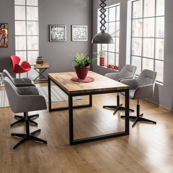 Larissa II Tölgyfa Asztal 150 cm / Fekete