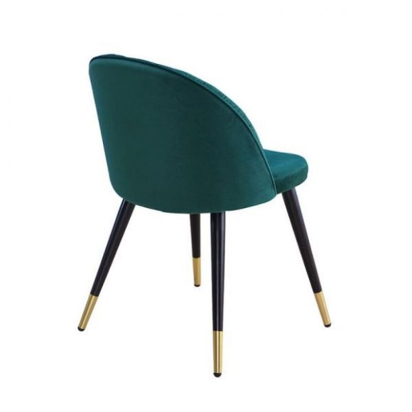 MONZA bársony étkezőszék zöld / fekete - arany lábakkal