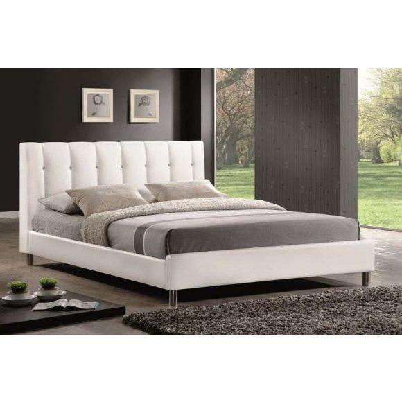 Naldo Ágykeret 160 cm Textilbőr / Fehér