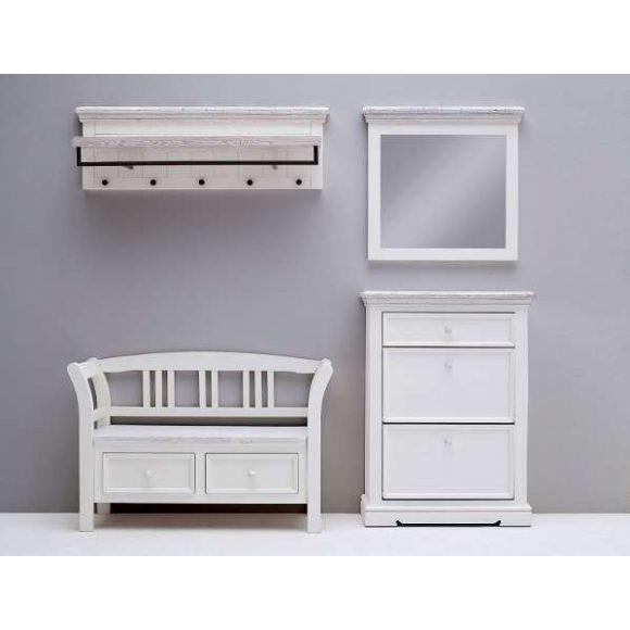 Odell Kabátakasztó Panel 124 x 40 x 30 cm / Fenyőfa / Fehér