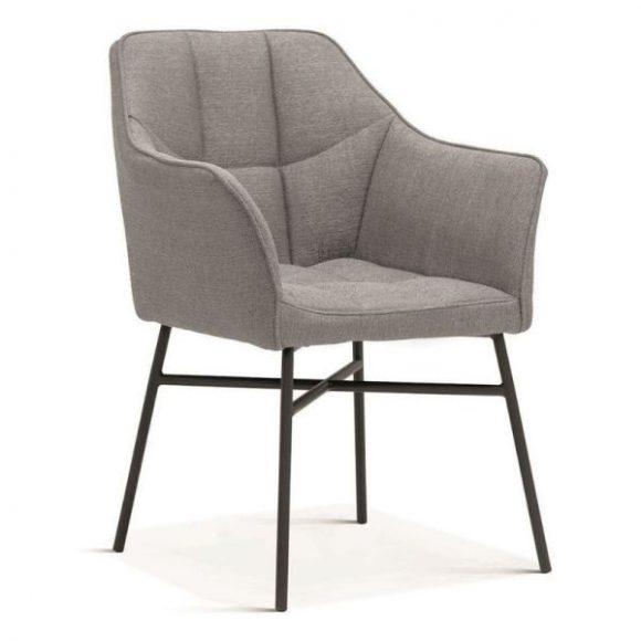 RIMINI fémvázas szék világosszürke, fekete lábakkal