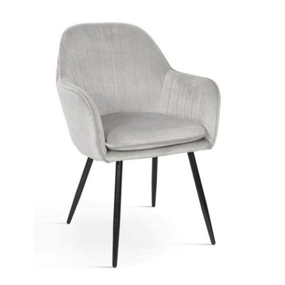 ROMA bársony szék világosszürke, fekete lábakkal