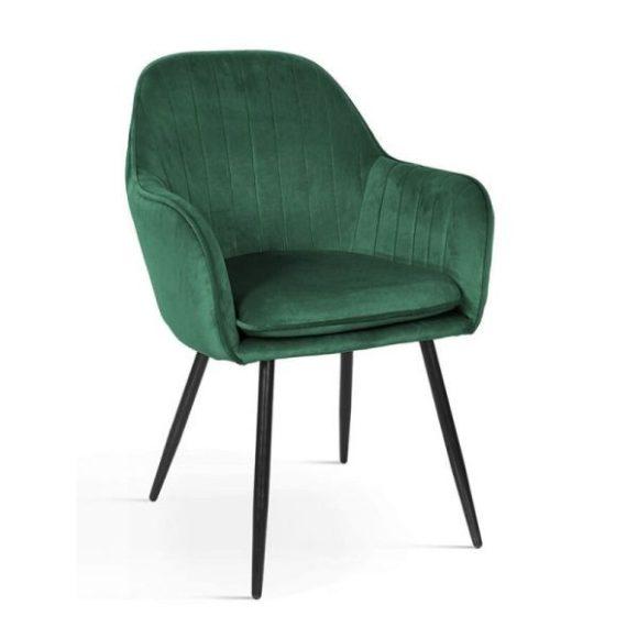 ROMA bársony szék sötétzöld, fekete lábakkal