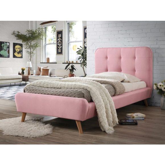 Tito Kárpitozott Ágykeret 90 cm Bársony / Rózsaszín