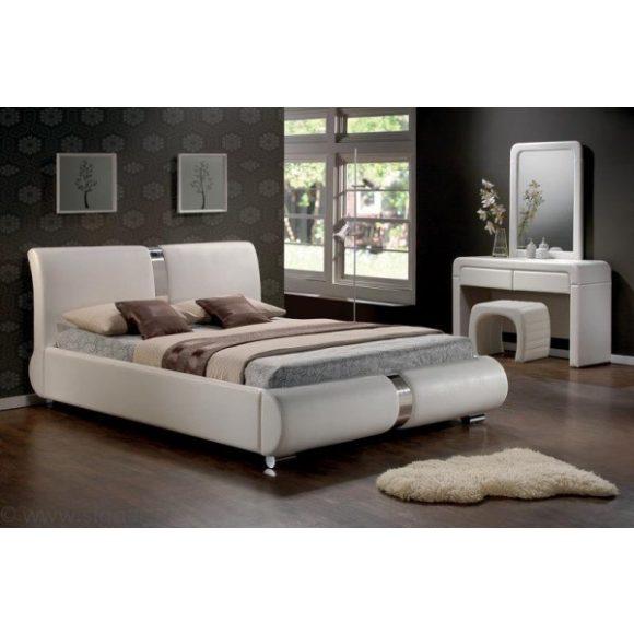 Bryne Franciaágy Keret 160 cm Textilbőr / Fehér