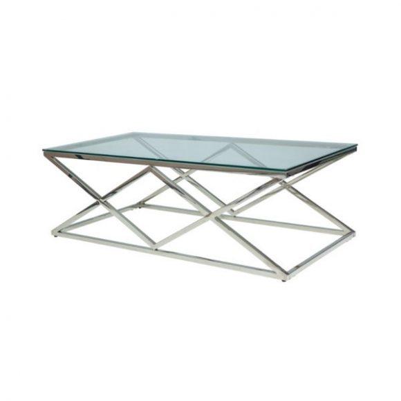 Zelia A Dohányzóasztal Edzett üveg / Króm