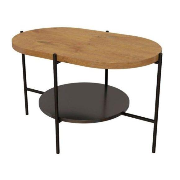 Arena tölgy / fekete dohányzóasztal