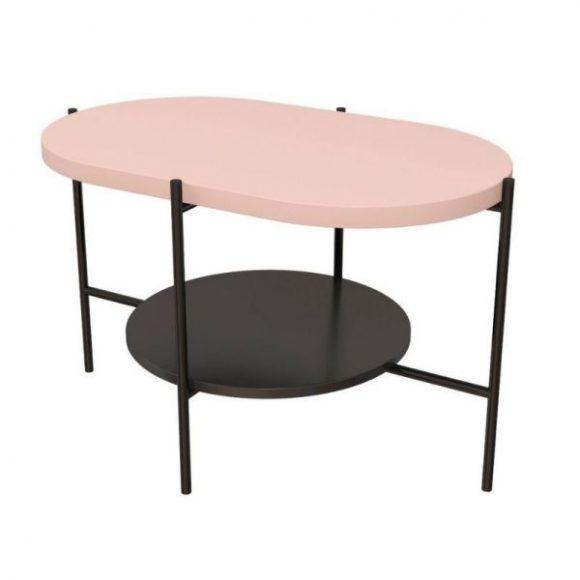 Arena púderrózsaszín / fekete dohányzóasztal