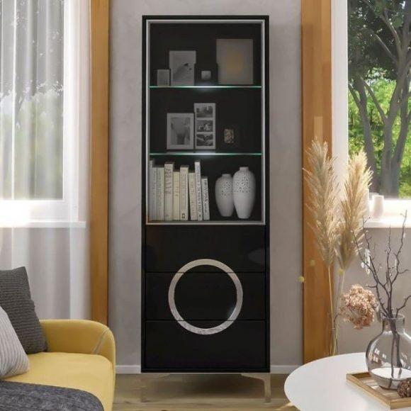 Eva fekete üveges szekrény