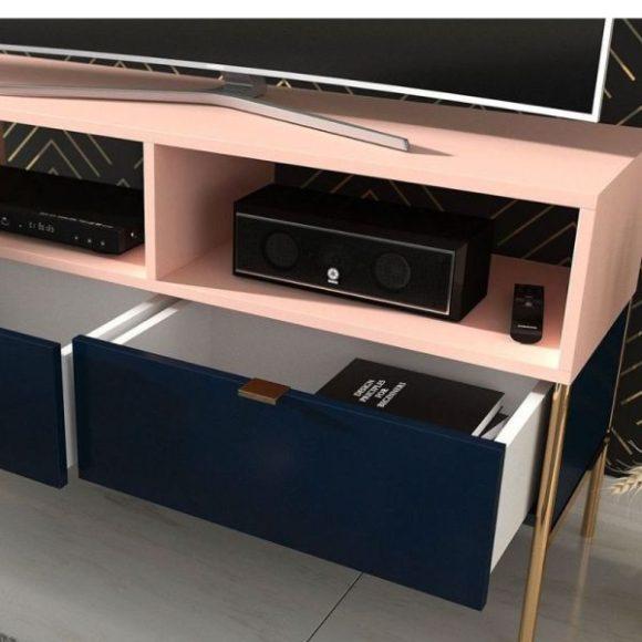 Polka sötétkék és rózsaszín tv szekrény